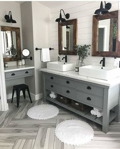 Farmhouse Bathroom Sink, Bathroom Cabinets, Dyi Bathroom, Bathroom Designs, Farmhouse Decor, Farmhouse Style, Urban Farmhouse, Budget Bathroom, Restroom Cabinets