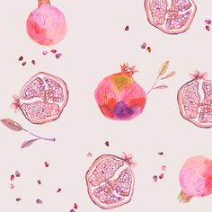 miji lee | pomegranate and seeds illustration with beautiful pink and purple color palette