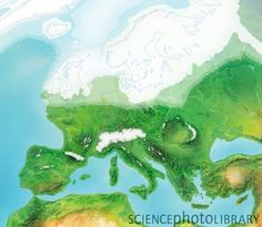 Artwork showing the maximum extent of the ice sheets and glaciers at the peak of the last Ice Age, between and years ago. European History, World History, Ancient History, Art Rupestre, Prehistoric Man, France Culture, Old Maps, Antique Maps, Ice Age