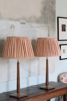 A pair of unique wooden table lamps with brass inlay and a geometric feel - Where Did You Get That Light? Wooden Table Lamps, Standard Lamps, Drum Shade, Lamp Bases, Art Deco Fashion, Mansion, Shades, Brass, Lighting