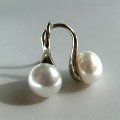 New item in my shop White Pearl Silver Earrings.