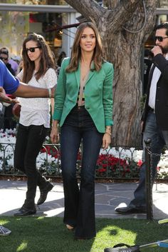 color blazer and high wasted jeans... hmm...