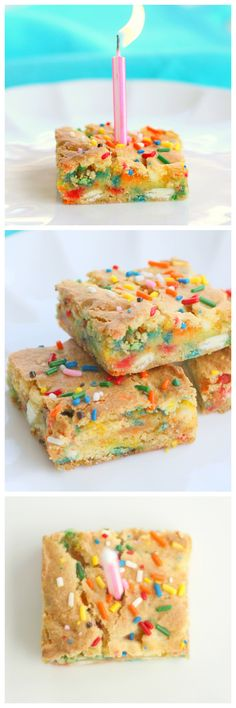 Cake Batter Blondies - easy, chewy, and packed with sprinkles.