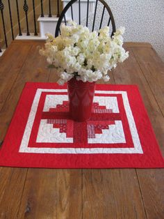 Log Cabin Table Topper  Red by Quiltedhearts5 on Etsy, $32.00