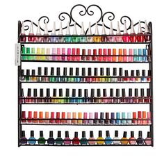 Dazone DIY Mounted 6 Shelf Nail Polish Wall Rack Organizer Holds 120 Bottles Nail Polish or Essential Oils Black *** Visit the image link more details.