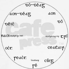 Gaeilge Wall Clock / Numbers in old script - in modern script, a h is used where the dot is used in old script. ocht is eight / Finnegans Wake, Learning French For Kids, Gaelic Words, Clock Numbers, Irish Language, Irish People, Script Writing, Celtic Music, Wall Clock Design
