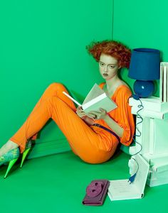 """Ekaterina Detcheva reading in """"Killing Time"""" for Vogue Italia, June Photographer: Lucia Giacani. Great color blocking between looks and set design by Giacani who lives and works as a freelance."""