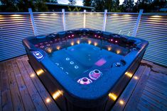 Awesome Outdoor Jacuzzi Ideas for a Relaxing Weekend. With the flow of warm water and bursts of water that create bubbles, soaking in the outdoor Jacuzzi to relax and relieve stress. So you re-energize an. Jacuzzi Outdoor, Outdoor Spa, Outdoor Gardens, Hot Tub Backyard, Cool Swimming Pools, Solar Powered Lights, Garden Pool, Pool Landscaping, Cool Plants