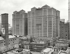 """New York circa 1909. """"Hudson Terminal Buildings."""" At the site of the future World Trade Center, a panorama encompassing the theatrical as well as the architectural."""