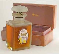 1922 Melba Glory perfume bottle and stopper, clear/frost glass, sealed, box (stained). 3 3/4 in.