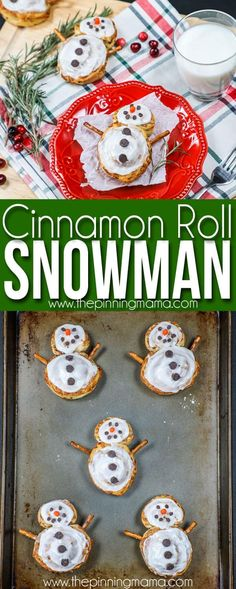 Christmas Breakfast idea- Cinnamon Roll Snowmen Informations About Cinnamon Roll Snowman- Easy Chris Christmas Snacks, Christmas Brunch, Christmas Goodies, Holiday Treats, Christmas Baking, Simple Christmas, Kids Christmas, Holiday Recipes, Merry Christmas