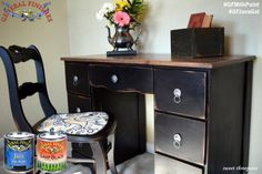 Sweet Threepeats, http://www.sweetthreepeats.com/, gave this desk a rustic makeover with General Finishes Lamp Black Milk Paint and Java Gel Stain.  Learn more about applying GF Milk Paint in this video, http://bit.ly/1xCLHkp.  #generalfinishes #gfmilkpaint #javagel