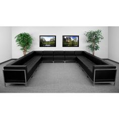 #!  13pc Modern Leather Office Reception Sectional Sofa Set, FF-0433-12-S8