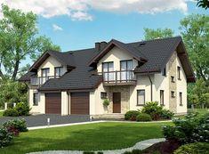 Projekt bliźniaka Trivento Termo o pow. 121,94 m2 z garażem 1-st., z dachem dwuspadowym, z tarasem, z wykuszem, sprawdź! Home Fashion, Home Improvement, Mansions, House Styles, Home Decor, Projects, House, Decoration Home, Manor Houses