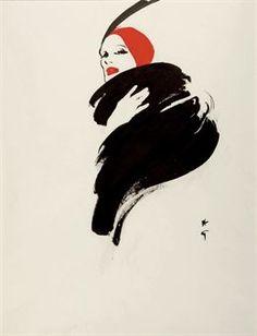 Illustration Vintage - Rouge et Noir - Gruau