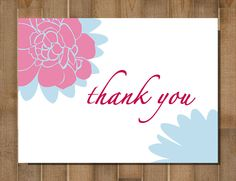 Thank You Card, Thank You Note: Flower Bursts -- PRINTABLE, 4x5.5, FLAT