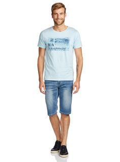 Kombi Montage T-Shirt Denim Branding, New Man, Mens Clothing Styles, Denim Shorts, Fashion Outfits, Tees, Mens Tops, T Shirt, Clothes