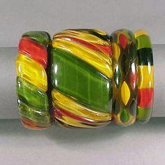 Bakelite Bangle Bracelets Lifesaver colors