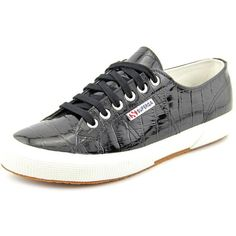 Superga 2750 Patent Croc Women Sneakers ($90) ❤ liked on Polyvore featuring shoes, sneakers, black, black shoes, black trainers, patent leather sneakers, black patent leather shoes and kohl shoes