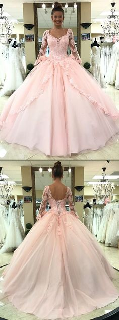 pearl pink quinceanera dresses with long sleeves, fashion scoop formal ball gowns for sweet 16 prom.