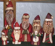 Carved Santas by Crafty Owl  Hand Carved Wood Santa Folk Art