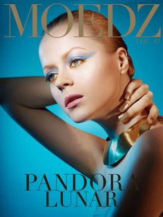 fashion stylist - fashion look -fashion magazine - styling - beauty - makeup - blue eye shadows  - gold shades - pink lips - gold  nails -  beauty editorial - pandora