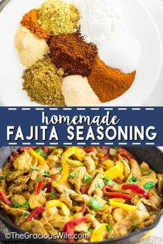 homemade fajita seasoning Homemade Fajita Seasoning is quick and easy to make and tastes so much better than store-bought! This recipe cheap, healthy, and easy to change to yo Meat Recipes, Appetizer Recipes, Mexican Food Recipes, Dinner Recipes, Spanish Recipes, Sweets Recipes, Fajita Seasoning Mix, Homemade Fajita Seasoning, Seasoning Recipe