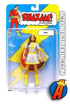 6-inch scale white variant Mary Marvel action figure from DC Direct's Shazam! line of toys. Visit ActionFigureKing.com for a huge database of new and vintage collectibles. #captainmarvel #shazam #marymarvel #dcdirect