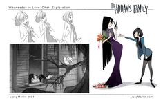 Illustration the addams family Wednesday Addams Character Design portfolio artist on tumblr visual developement