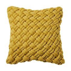 Jersey Chunky Knit Cushion Mustard