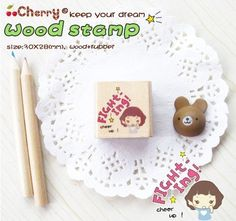 Items similar to Girl Wooden Rubber Stamp - Fighting & Cheer Up) on Etsy Hotel Supplies, Cheer Up, Dreaming Of You, Place Card Holders, Kawaii, Stamp, Wood, Handmade Gifts, Cute