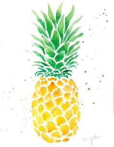 PINEAPPLE Watercolor Painting, green and yellow Color Art Print, Colour…