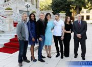 Above: (left to right) Sam Mendes, Naomie Harris, Daniel Craig, Bérénice Marlohe, Ola Rapace, Barbara Broccoli & Michael G. Wilson.    The cast and crew assembled at the Ciragan Palace hotel in Istanbul on 29th April,
