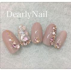 Loris Sweet Cream — Good idea for gel po Japanese Nail Design, Japanese Nails, Bride Nails, Wedding Nails, Beautiful Nail Art, Gorgeous Nails, Japan Nail Art, Asian Nails, Kawaii Nails