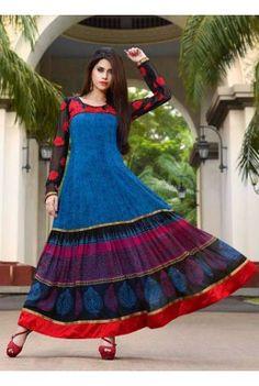 Blue-And-Black-Georgette-Printed-Anarkali-Suit  Shop this #Anarkali now & get Rs.500 off*. #deepkalasilk