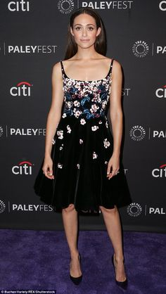 Flower power: Emmy Rossum led the way in a pretty floral frock as the cast of Shameless was feted at a special event in Los Angeles on Wednesday night