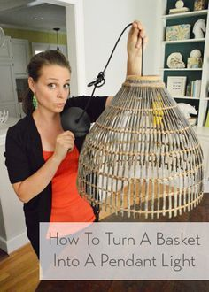 The easy way to turn a basket into a light (it's cheap too!)