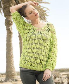 Светло-зеленый ажурный джемпер - схема вязания спицами. Вяжем Джемперы на Verena.ru