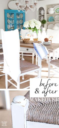 Dining Room furniture makeover on a very small budget. See how to transform hand-me-downs and flea market finds to pieces that are just your style. Tutorials and DIY tips
