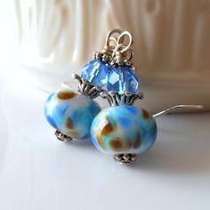 Blue Earrings Lampwork Glass Beads with Capri by FiveLittleGems