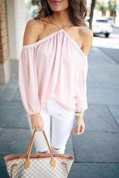 Such a cute top. Pretty in pink! Love the tote.