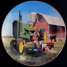 CLEAN AND SHINY Plate Danbury Mint Little Farmhands Zolan MINT/COA John Deere & Danbury Mint Ltd Ed B5853 Farmland Memories John Deere Days of ...