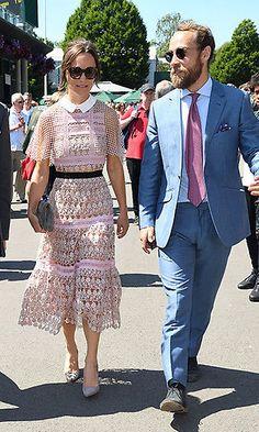 pippa middleton and james middleton at wimbledon Pippa Middleton Style, Carole Middleton, Middleton Family, Blush Pink Dresses, Royal Dresses, Box Pleated Dress, Lace Dress, Royal Fashion, Fashion Looks