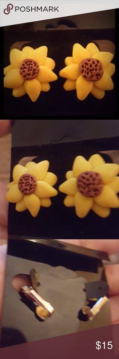 Pretty clay sunflower clip on earrings Very cool! Enjoy! Jewelry Earrings