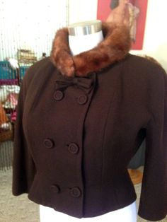 Exquisite 40's Wool Gabardine Jacket w/Mink Collar/Exceptional Detail / Fab Vtg by OldohioVintage on Etsy