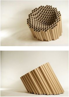 Slice char, made out of cardboard tubes by Matthew Laws.looks comfortable! - Slice char, made out of cardboard tubes by Matthew Laws…looks comfortable! Slice char, made out of cardboard tubes by Matthew Laws…looks comfortable! Cardboard Chair, Cardboard Design, Cardboard Tubes, Cardboard Furniture, Cardboard Crafts, Diy Furniture, Furniture Design, Cardboard Playhouse, Fireplace Furniture