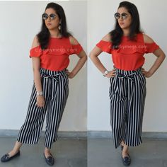 5 Dresses to hide tummy how to hide belly fat. Striped culottes with cold shoulder top.