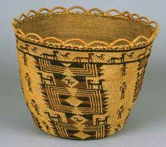 "Salish Coastal native Basket designs | Basket (1-507), 19th c., cattail leaves, Twana, 11"" x 11"" x .75 ..."