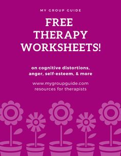 Free therapy resources: mental health worksheets on anger, anxiety, cognitive distortions, self-esteem, & more. Cbt Worksheets, Self Esteem Worksheets, Counseling Worksheets, Therapy Worksheets, Counseling Activities, Therapy Activities, Group Counseling, Cbt Therapy, Free Therapy