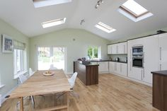 Kitchen extension-like the pitched roof and skylights. Kitchen extension-like the pitched roof and skylights. Kitchen Extension Pitched Roof, House Extension Plans, Kitchen Diner Extension, Roof Extension, Extension Ideas, Bungalow Extensions, House Extensions, Kitchen Extensions, Roof Design